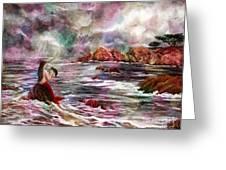 Mermaid In Rainbow Raindrops Greeting Card