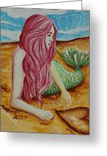 Mermaid On Sand With Heart Greeting Card