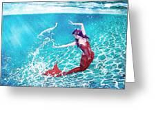 Mermaid Red Greeting Card