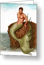 Merman On The Rocks Greeting Card