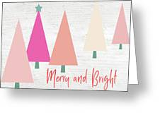 Merry And Bright Trees- Art By Linda Woods Greeting Card
