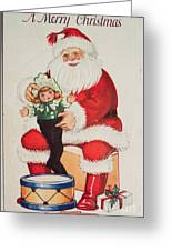 Merry Christmas Santa Pulls Doll From His Sack Vintage Card Greeting Card
