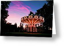 Merry - Go - Round At Sunset Greeting Card