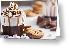 Messy Hot Chocolate, Cream And Marshmallows And A Choc-chip Cook Greeting Card