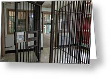 Metal Bars Leading Into Cellblock In Prison Greeting Card