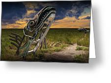 Metal Monster Emerging From The Earth Greeting Card