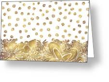 Metallic Gold Floral Flower Swirls Trendy Unique Art By Madart Greeting Card
