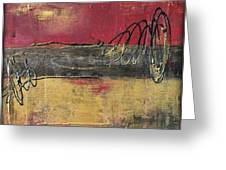 Metallic Square Series I - Red And Gold Urban Abstract Painting Greeting Card