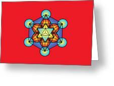 Metatron's Cube With Merkaba Greeting Card