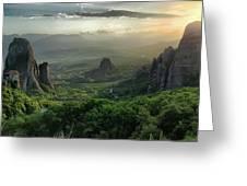Meteora Greece Sunset Greeting Card