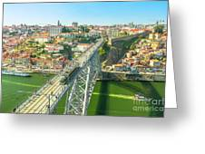 Metro Train Over Porto Bridge Greeting Card