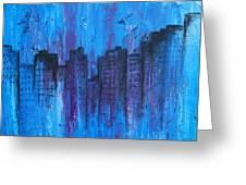 Metropolis In Blue Greeting Card