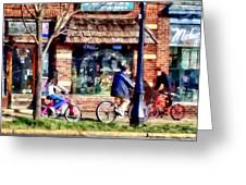 Metuchen Nj - Bicyclists On Main Street Greeting Card