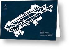 Mex Benito Juarez International Airport Silhouette In Blue Greeting Card