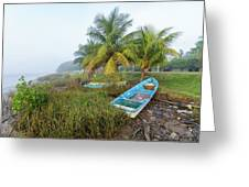Mexican Boat In The Fog Greeting Card