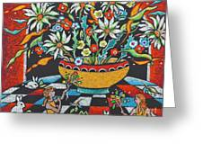 Mexican Vase With Spring Flowers Greeting Card