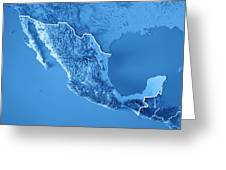 Mexico 3d Render Topographic Map Blue Border Digital Art by Frank ...