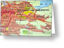 Mexico City Map. Greeting Card