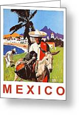 Mexico, Mexican Posing With Donkey Greeting Card
