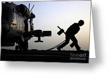 Mh-60r Sea Hawk Helicopter Is Ready For Duty Greeting Card