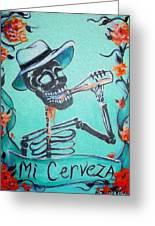 Mi Cerveza Greeting Card by Heather Calderon