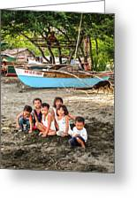 Mia-gao Fishing Children 1 Greeting Card