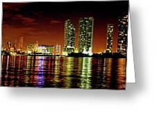 Miami At Night -1 Greeting Card