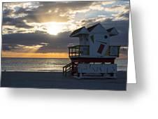 Miami Beach Life Guard House Sunrise 2 Greeting Card
