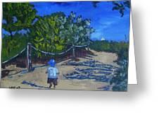 Miami Beach Path And Child Greeting Card