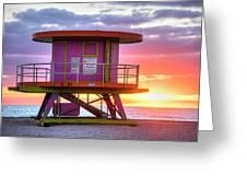 Miami Beach Round Life Guard House Sunrise Greeting Card