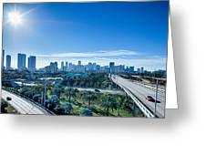 Miami Florida City Skyline And Streets Greeting Card