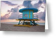 Miami Lifeguard Cabin At Sunrise Greeting Card