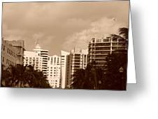 Miami  Sepia Sky Greeting Card