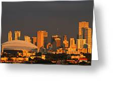 Miami Skyline At Sunset Greeting Card