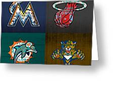 Miami Sports Fan Recycled Vintage Florida License Plate Art Marlins Heat Dolphins Panthers Greeting Card