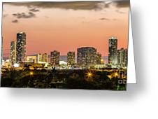 Miami Sunset Skyline Greeting Card