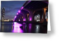 Miami Under The 395 At Night Greeting Card