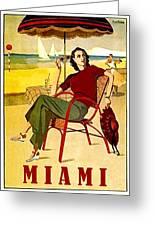 Miami, Woman On The Beach Under Sunshade Greeting Card