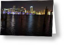 Miami's Downtown At Night Greeting Card