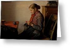 Michael Ancher - Skagen Girl, Maren Sofie, Knitting. Greeting Card