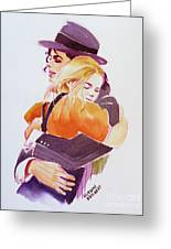Michael Jackson - With Katie Greeting Card by Hitomi Osanai