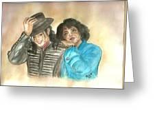 Michael Jackson And Oprah Greeting Card by Nicole Wang