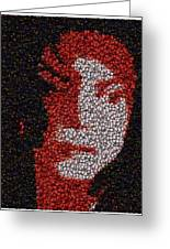Michael Jackson Bottle Cap Mosaic Greeting Card by Paul Van Scott