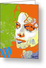 Michael Jackson Green And Orange Greeting Card