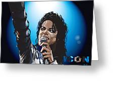 Michael Jackson Icon Greeting Card by Mike  Haslam