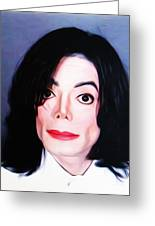 Michael Jackson Mugshot Greeting Card by Bill Cannon