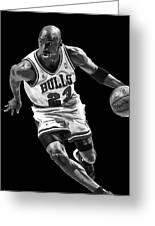 Michael Jordan Drives To The Basket Greeting Card