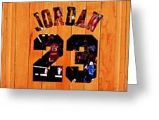 Michael Jordan Wood Art 1a Greeting Card