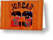 Michael Jordan Wood Art 1b Greeting Card