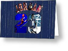 Michael Jordan Wood Art 2c Greeting Card